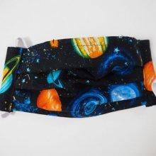 Masque de protection , plissé, avec pince-nez, 3 épaisseurs, espace, planètes