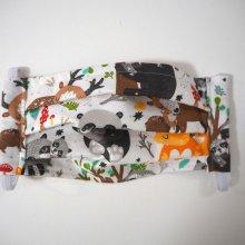 Masque en tissu , plissé, avec pince-nez, 3 épaisseurs, animaux des bois