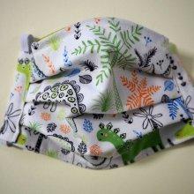 Masque de protection , plissé, avec pince-nez, 3 épaisseurs, dinosaures