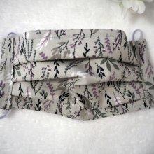 Masque en tissu , plissé, avec pince-nez, 3 épaisseurs, gris, fleurs