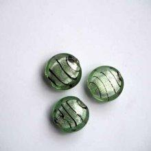 Lot de 3 Perles verre , italian style, rondes aplaties  diamètre 20mm tons vert clair avec traits noirs