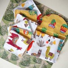 Pochette Nomade + 6 lingettes assorties, lavable, réutilisable, coton avec Lamas
