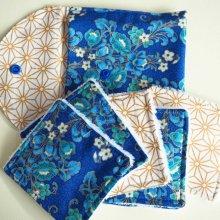 Pochette Nomade + 6 lingettes assorties, lavable, réutilisable, coton bleu fleuri et doré