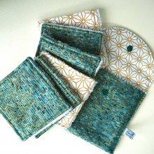 Pochette Nomade + 6 lingettes assorties, lavable, réutilisable, coton kaufmann ton vert et doré