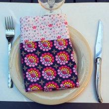 Serviette de table 33x33cm, coton ton rose violet