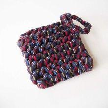 Porte-savon tawashi , lavable, inusable, tricoté main, coton noir rayé couleur
