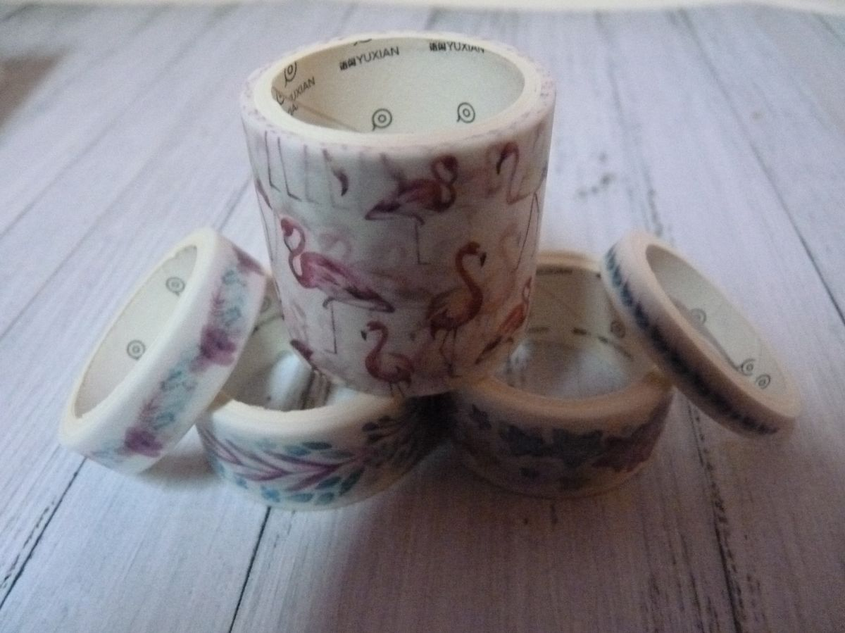 "5 ROULEAUX DE WASHI TAPE ""FLAMANT ROSE"""