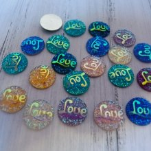 20 embellissements ronds love