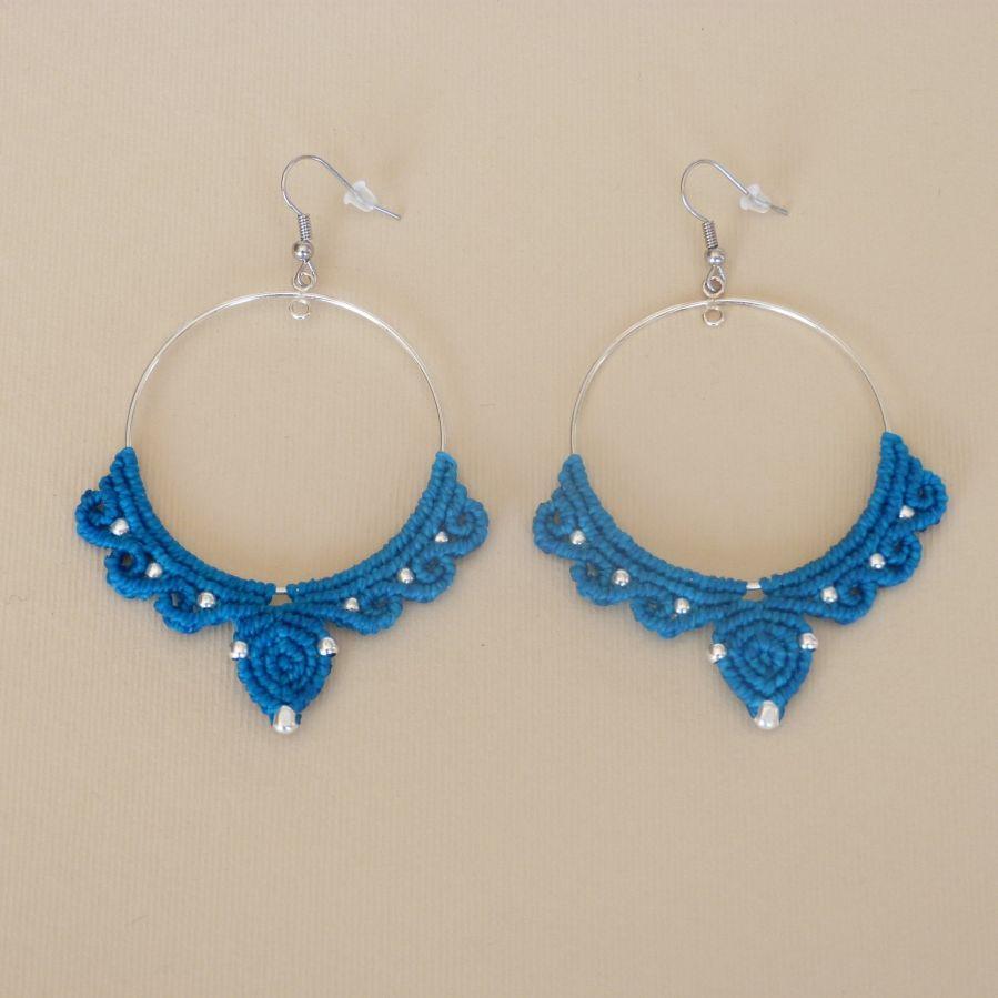 Boucles d'oreilles créoles en argent 925 en micro-macramé bleu turquoise