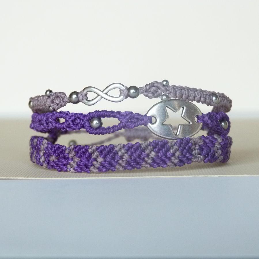 Bracelet multi-rangs 3 en 1  en micro-macramé mauve et violet