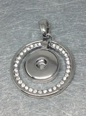 Support Pendentif Strass blancs pour bouton pression chunk 18 à 25mm