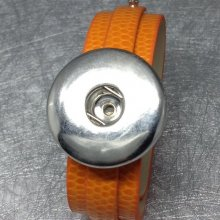 Bracelet réglable en cuir orange pour maxi bouton pression interchangeable chunk