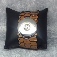 "Bracelet  en simili cuir ""comodo"" Marron pour maxi bouton pression interchangeable chunk de 30mm"