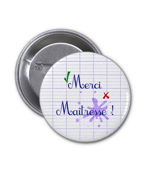 Badge 37 mm Merci Maitresse
