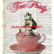 TRANSFERT APPLIQUE  ALICE TEA PARTY 17 CM X 13 CM  SUR COTON BLANC 28 CM X 21 CM