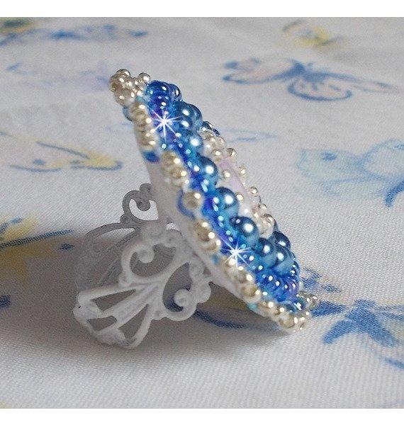 Bague Azur avec un cristaux de Swarovski et des perles nacrées