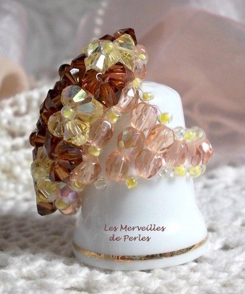 """Bague cristal  """"Etoilée"""" éclats de perles"""
