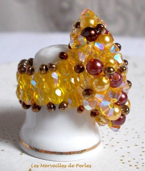 "Bague cristal et perles ""Soleil"", cascade de perles"