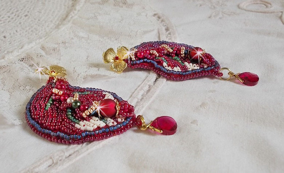 BO Enchantement d'Automne, perles, rocailles et Cristaux de Swarovski.