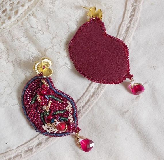 BO Enchantement d'Automne brodées avec des Cristaux de Swarovski, des perles nacrées et des rocailles