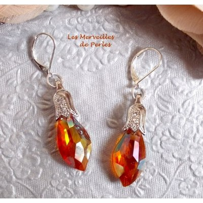 """Boucles d'oreilles Merveilles  """"Red Topaze"""" généreuse couleur"""