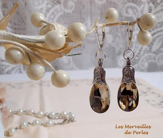 """Boucles d'oreilles Merveilles  """"Champagne"""" belle brillance"""