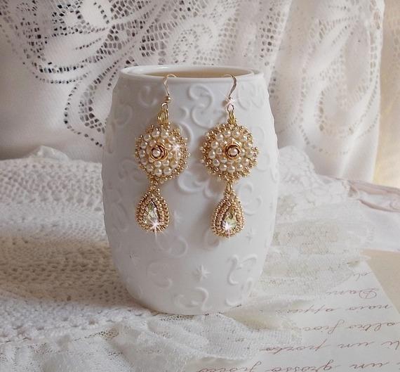 BO Roses Dorées brodées avec des perles, cristal de Swarovski façon romantique