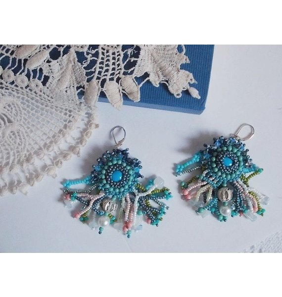 BO La Petite Sirène brodées des perles bleu et des pierres de gemme