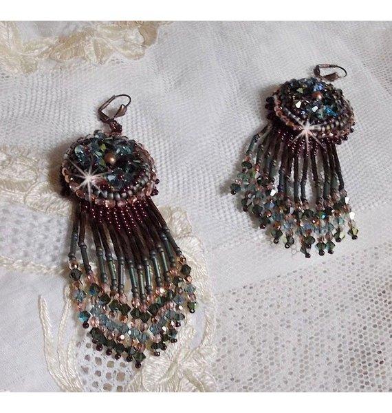 BO Long Brown Picasso  brodées avec des cristaux de Swarovski et de très belles perles