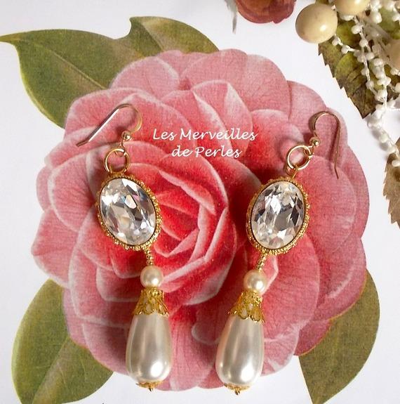 """Boucles d'oreilles cristal """"Boucles d'Or"""" classique et précieux"""