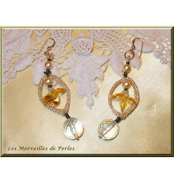 """Boucles d'oreilles cristal et perles """"Bo'Soleil"""" flamboyantes"""