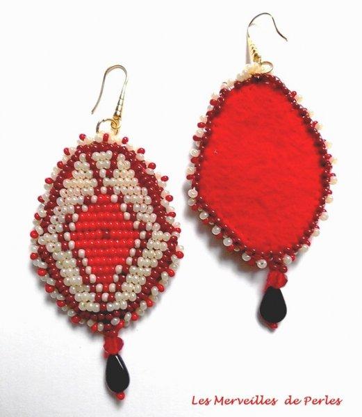 BO Romane brodées avec des rocailles Miyuki beige et rouge