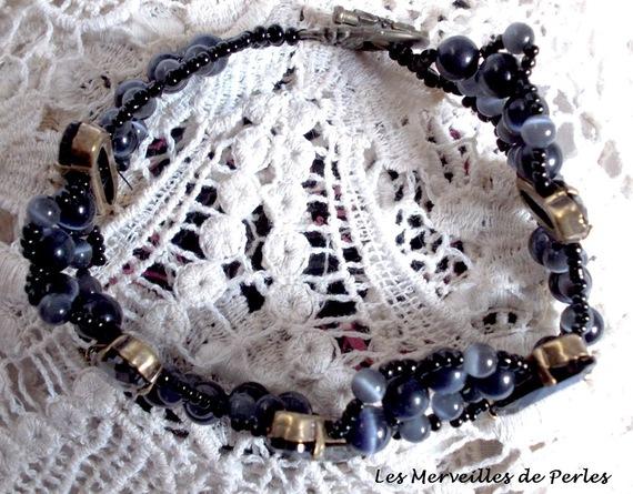 Bracelet Liberty avec des cristaux de Swarovski et oeil de chat en verre