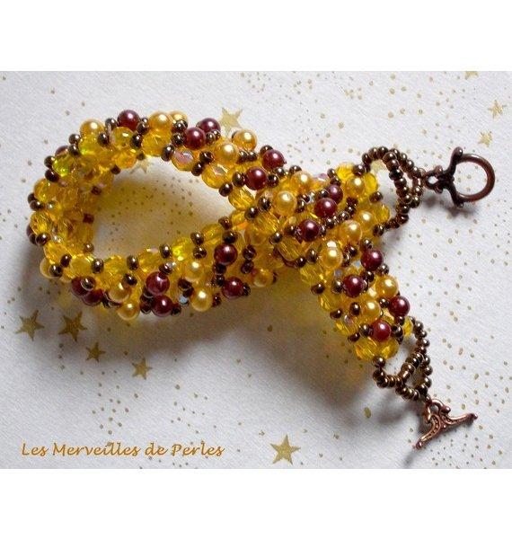 "Bracelet en perles ""Soleil "", cascade de perles"