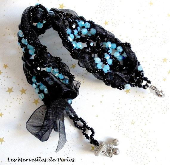 """Bracelet en perles de verre """"Prestige"""" facettes en forme"""