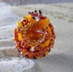 Bague Chic Boho Ethnique Les Rêves d'Acapulco, Crystal de Swarovski, rocailles Miyuki, verre et  perles.