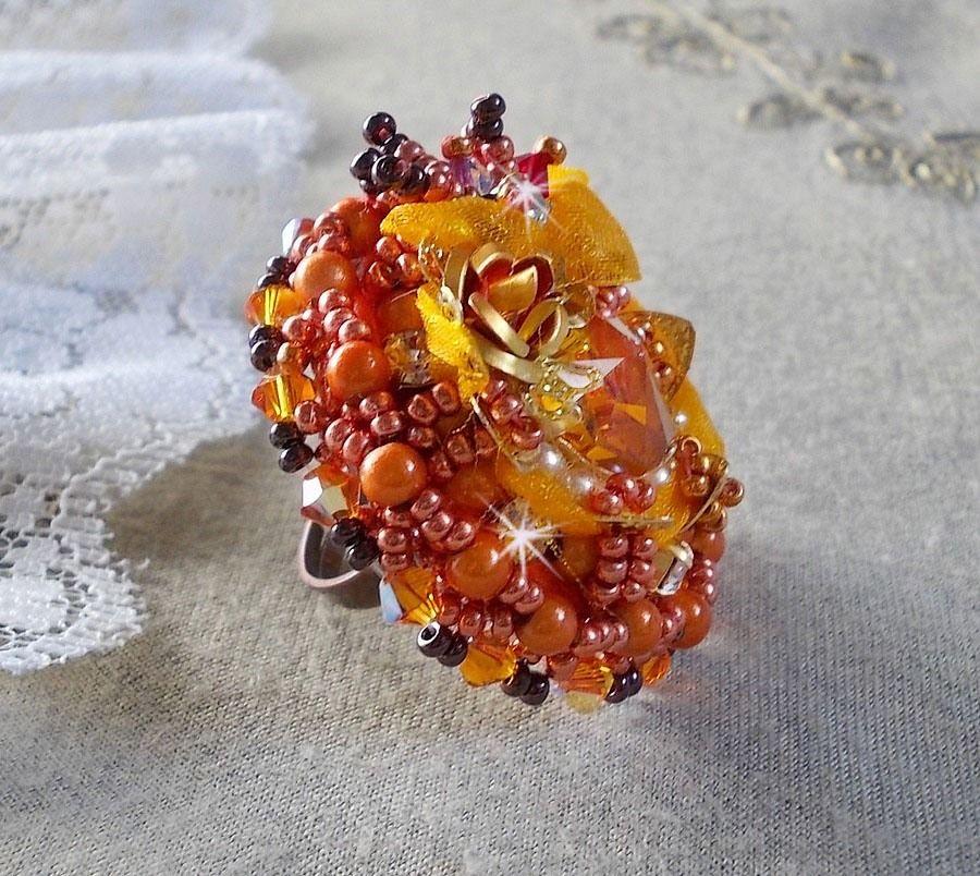 Bague Les Rêves d'Acapulco, Crystal de Swarovski, rocailles Miyuki, verre et  perles façon Chic Boho Ethnique