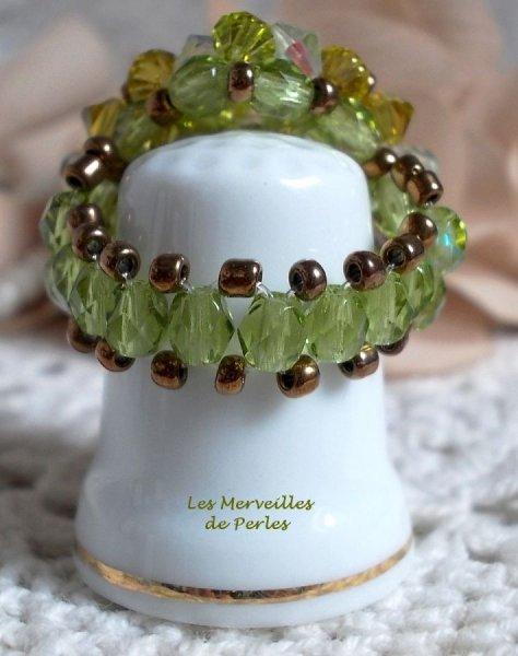"""Bague cristal  """"Baiser Volé"""" enchantement de perles"""