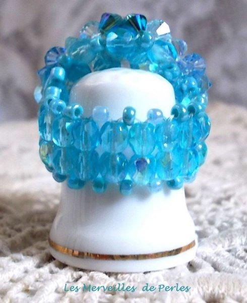 """Bague cristal et perles """"Céleste"""" ronde de perles"""
