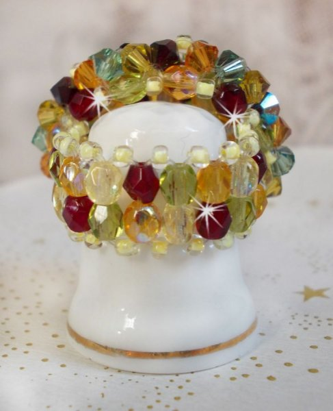 Bague Crystal Provençale avec des Cristaux de Swarovski et perles de bohême