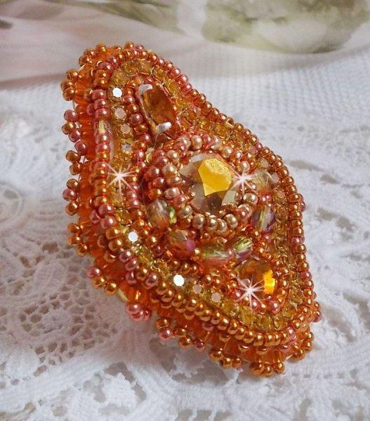Bague Rumba avec un beau crystal de Swarovski orange