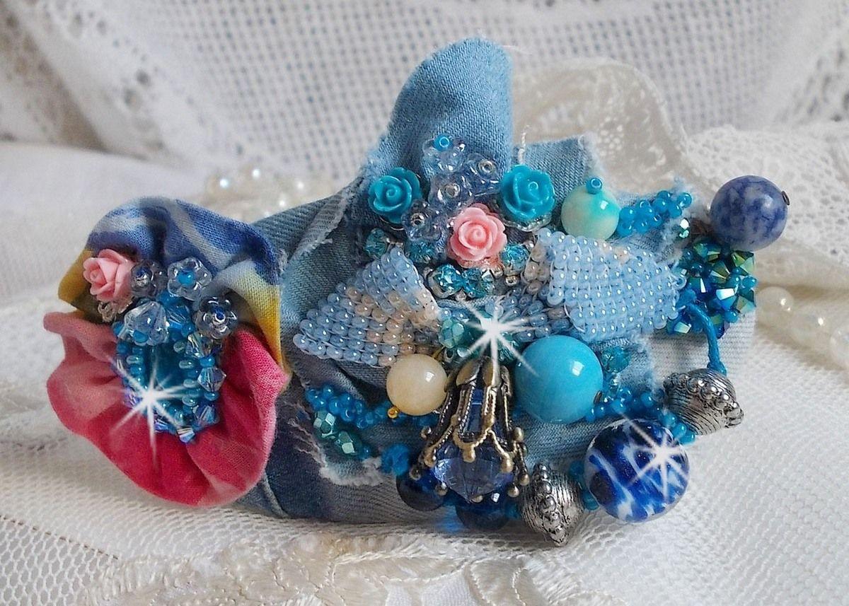 Barrette à cheveux Far West, rien que du jean, perles semi-précieuses et autres perles.
