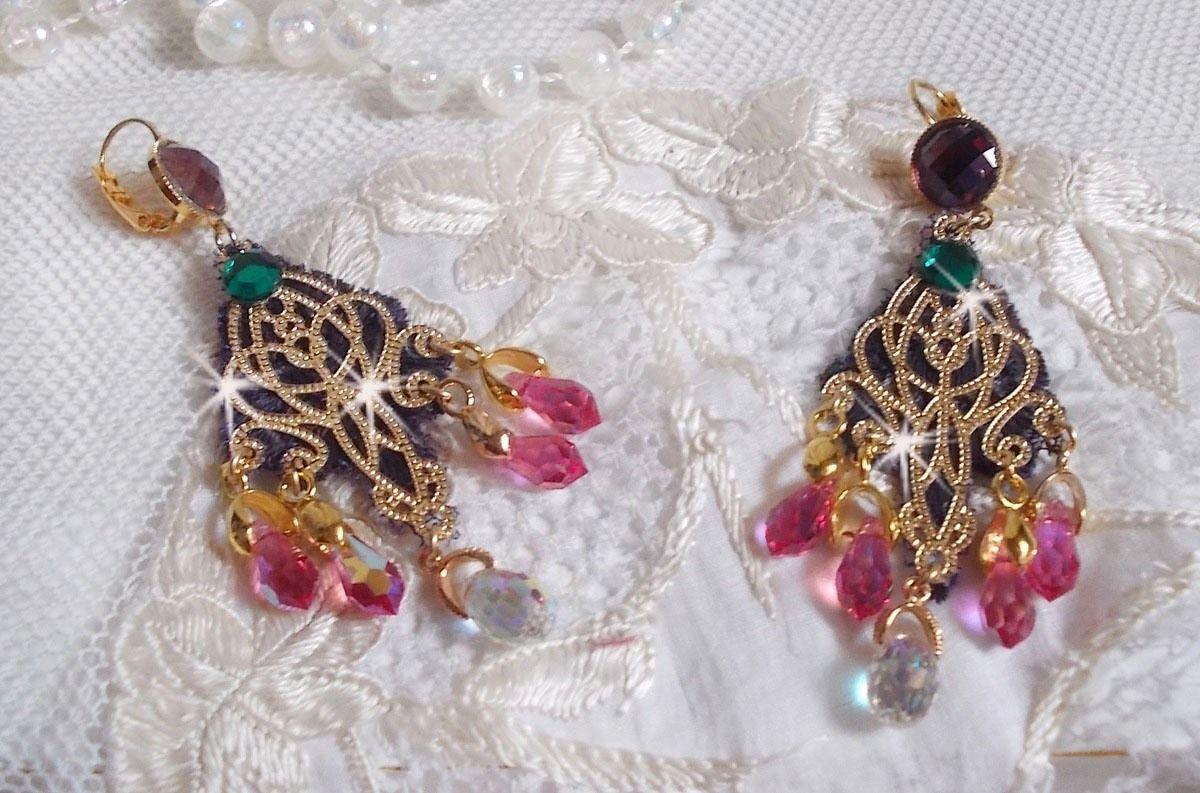BO Asiane montées avec des Gouttes en Cristal de Swarovski, une dentelle Violine des Années 1950 et des perles en verre