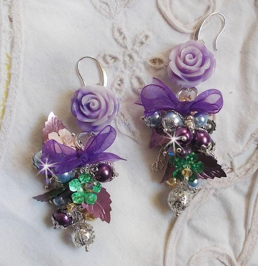 BO Bell'issim Violet et ivoire  avec des beaux Cristaux et perles semi-précieuses