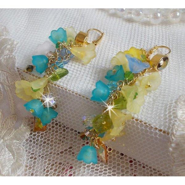 BO Bella Yellow montées avec des cristaux de Swarovski, des fleurs frosted et des perles nacrées