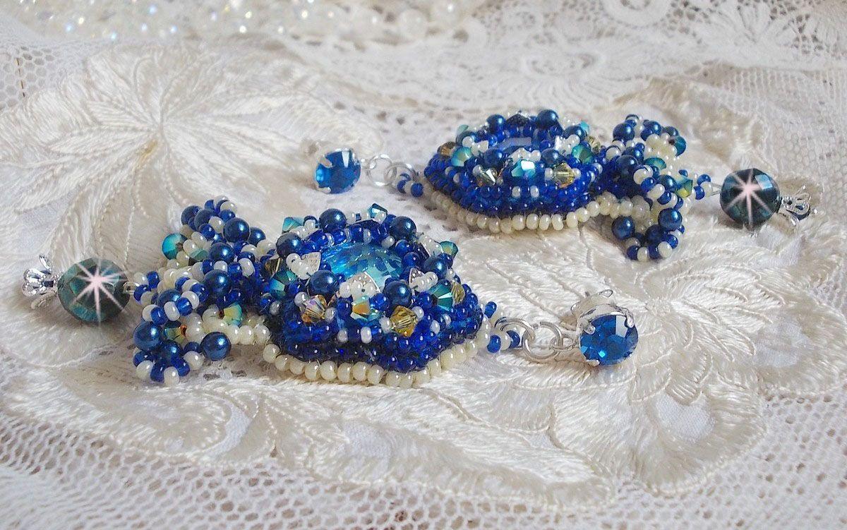 BO Blue Palace Haute-Couture perlées de rocailles en verre et cristaux de Swarovski