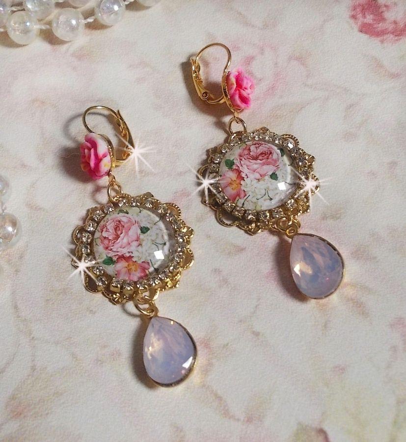 BO Bouquet Valentine crées avec des cabochons en verre bouquet de rose, des cabochons en résine et des cristaux de Swarovski