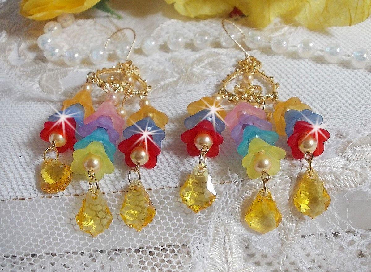 BO Garden Flowers avec des cristaux de Swarovski et des fleurs Lucite de différentes couleurs