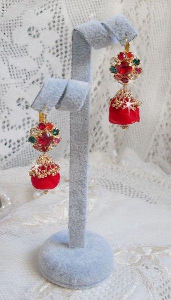 BO Mia brodées avec des cristaux de Swarovski, des pierres en Zirconium orange, des perles en Fimo.et des rocailles
