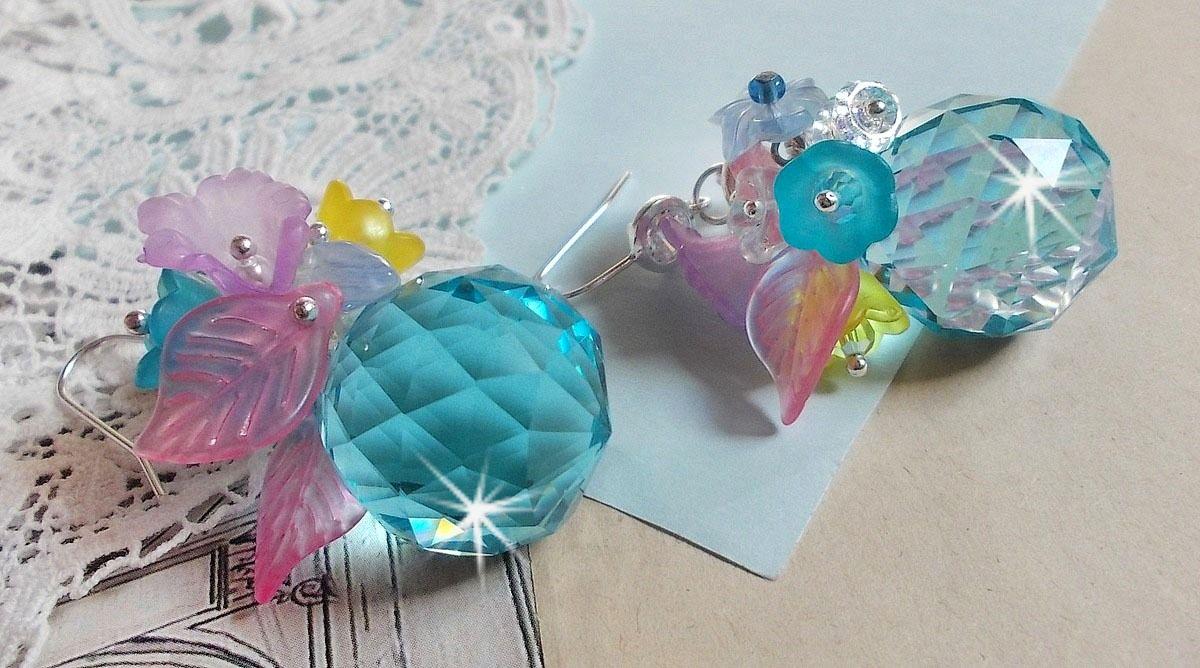 BO Ondine Bleu avec des cristaux de Swarovki et de fleurs en résine